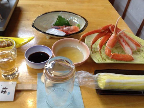 清流荘の松葉ガニ料理
